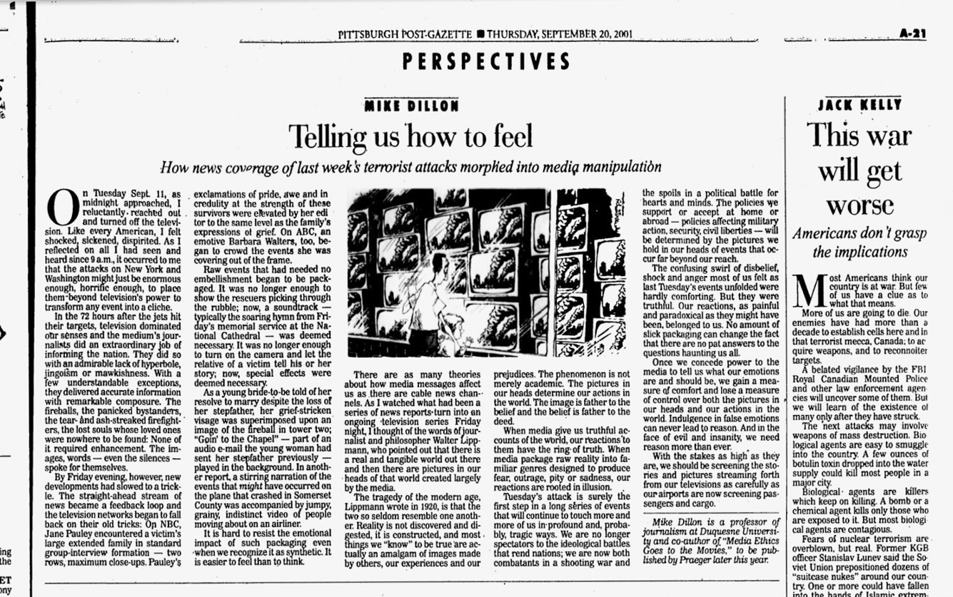 Image of article from Pittsburgh Post-Gazette, September 20, 2001